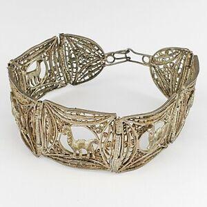 Vintage Silver Tone Filigree Cannetille Style Alpaca Llama Peru Panel Bracelet