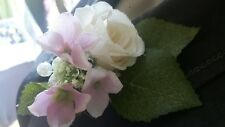 Beautiful Wedding Corsage with Ivory Rose, Pink Hydrangea, Trachelium and Pearls