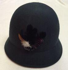 Green 100% Wool Bucket Hat W/ Feathers