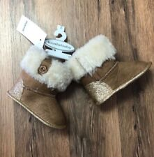 Koala Kids Baby Infant Girl Fur Soft Sole Boots Tan & White NWT