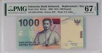 INDONESIA 1000 RUPIA 2016 P 141 N* REPLACEMENT XPU SUPERB GEM UNC PMG 67 EPQ