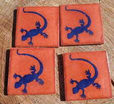 "20~MEXICAN TALAVERA POTTERY 2"" clay hand made Tile gecko lizard terra cotta blue"