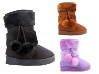 3 Color Side Zipper Faux Suede Baby Toddlers Kids Girls Faux Fur Booties NO BOX