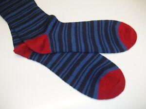 🇬🇧 Mens Quality 80% MERINO WOOL 6-11 UK RaNdOm Striped Stripe Socks Navy/Blue