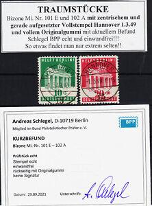 A2) TRAUMSTÜCK Bizone Mi.Nr. 101-102 zentr. Vollstempel mit Gummi Schlegel BPP
