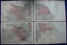 Original antique map x 4, YORKSHIRE, RAILWAYS, G.W. Bacon, 1896