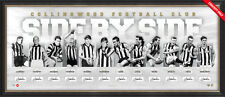 COLLINGWOOD MAGPIES HAND SIGNED FRAMED SIDE BY SIDE 125TH ANNIVERSARY AFL PRINT