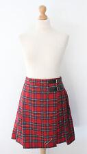 Red Check Tartan Blanket Kilt Skirt Mini Short Pleated Wrapped Casual M 10 12
