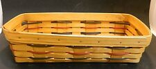 Longaberger Woven Wooden Bread Basket Black & Red Unused Very Good Damaged End
