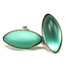 Mint grün navette Ohrstecker mit handgemachten Glassteinen grün türkis matt