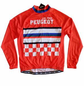 OCG Cycling Jersey Orange A.V.C Nimes Peugeot Long Sleeve Shirt Mens Medium
