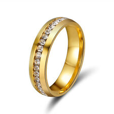 Men Women Stainless Steel CZ Silver Gold Engagement Wedding Band Ring Size 5-13