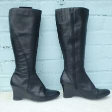NEXT Leather Boots Size Uk 6 Eur 39 Womens Ladies Sexy Wedge Black Boots