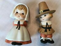 "Vintage Pair Lefton Pilgrim Girl Boy Thanksgiving 3.75"" Figurines     C9-15"