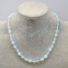8/10mm Natural White Opal Moonstone Round Gemstone Beads Necklace 14-30 inches