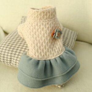 New Princess Small Dog Dresses Coat Autumn Warm Cat Skirt Clothes Tutu Dress