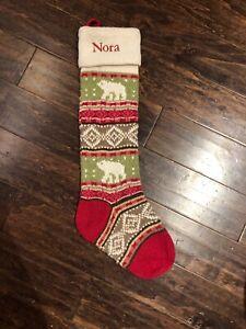New POTTERY BARN KID Classic Fair Isle Knit Bear CHRISTMAS STOCKING Mono Nora