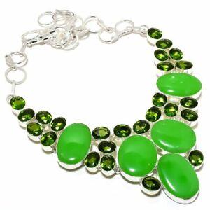 "Green Jade, Peridot Gemstone Handmade Silver Jewelry Necklace 18"" MQR-1342"