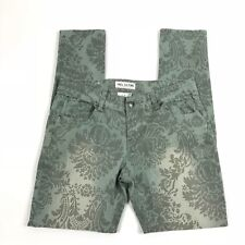 FREE CULTURE JUNIORS SKINNY COLORED PANTS FLORAL PRINT JEANS GREEN SIZE 11