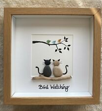 Pebble Art Two Cats & seaglass birds Bird Watching birthday mothers day gift