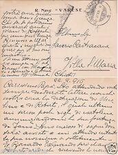 """# NAVI DA GUERRA: R/N """"VARESE"""" - CART. IN FRANCHIGIA CON BOLLO 22-2-1916"""