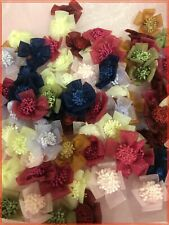 """3/4""""-1"""" Organza Sheer Flower Applique Sewing Craft 100 Mixed Colors 204C"""