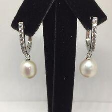 92.5 Sterling Silver 9-10mm Freshwater Pearl Drop Earrings with CZ **BNIB**