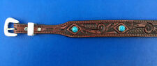 Western Rodeo Cowboy Decor Tooled Top Grain Red/Brown Leather HAT BAND