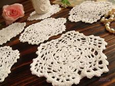 "6PCS Lot  -Vintage HAND Crochet Lace Doily Rounds Scalloped WHITE - Wedding 4"""