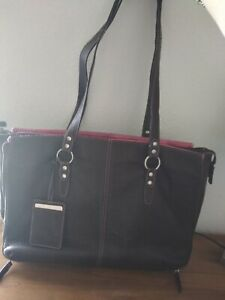 """Buxton Pebble Leather Brown/Pink Laptop Tote/Work Bag 17"""" X 12"""""""