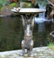 Garden Ornament Bird Feeder Bath Rabbit Hare Statue Statue Copper effect Decor