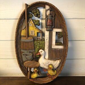 Burwood Chicken Ducks Chicks Farmhouse Wall Plaque #1013 Year 1974 Vintage