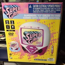 "SUPERGIRL 13"" COLOR TV/DVD COMBO w/REMOTE PINK WHITE KIDS DC WB WORKS GREAT RARE"