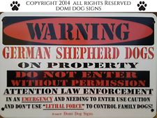 "Metal Warning German Shepherd Dogs Sign For FENCE ,Beware Of Dog 8""x12"""