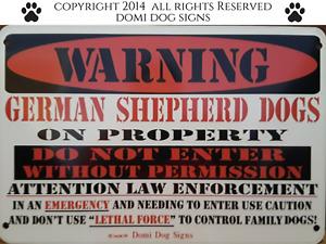 "Metal Warning German Shepherd Dogs Sign For FENCE ,Beware Of Dog 8""x12"""