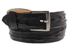 Men Faux Crocodile Alligator Skin Genuine Leather Stitched Belt w Belt Buckle