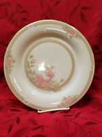 "4 Crown Ming Fine China ""Christina"" 10 1/2"" Dinner Plate Gold Pink Roses EUC"