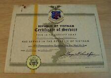 """1970-71 Citation Vietnam War """"Certificate of Service"""" Usaf Tan Son Nhut Air Base"""