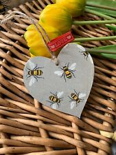 SHABBY CHIC Decoupage Wooden Heart 10 Cm Bumble Bee Gift Home Tag