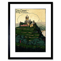 Postcard Cochem Castle Terrace Forest Germany Mosel River Framed Wall Art Print