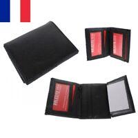 Portefeuille Carte Simili Cuir Noir 10 x 8 cm 6 Poches dont 1 Zip Porte Monnaie