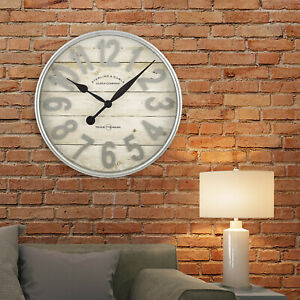 """Large Farmhouse Wall Clock Rustic Round 20"""" Decorative Watch Country Home Decor"""