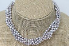 Beautiful Twisted Multi-strand Grey Lilac Freshwater Pearl Necklace