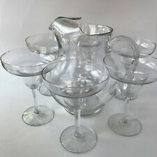 Margarita Pitcher & 6 Glasses Clear Glass Bar Drink Set Martini Applied Handle