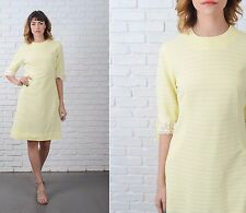 Vintage 60s Yellow Mod Dress Striped Crochet Lace Cocktail Party Small S