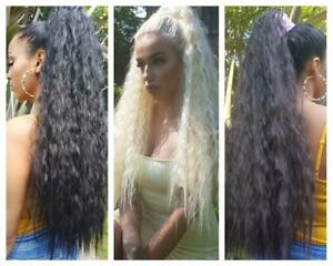 """Extra long 30""""  thick wavy afro ponytail hair piece extension Black Blonde Brown"""