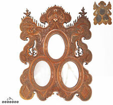 Antique 19th C. Chinese Carved Boxwood Triple Picture / Photo Frame