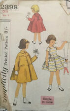 VTG 50s 60s Simplicity Sewing Pattern Childs One Piece Dress & Coat Age 4 Years