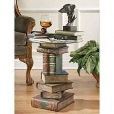 Stacked Volumes Book Design Glass Topped Sculptural End Table