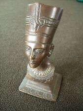 """Vintage Ancient Egyptian Bronze Finish Bust Head Statue Figure 6"""" tall"""